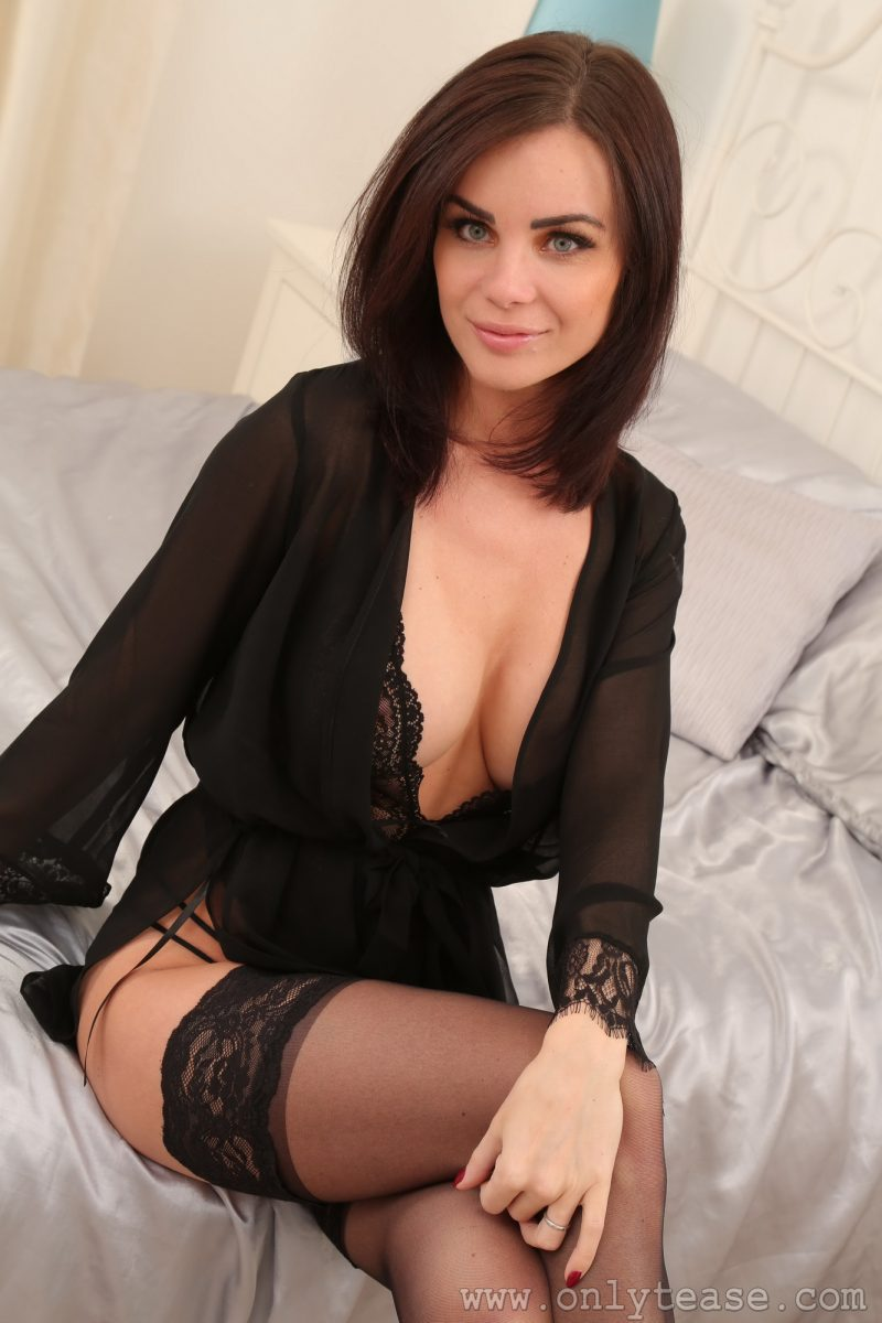 Emma Glover in black lingerie