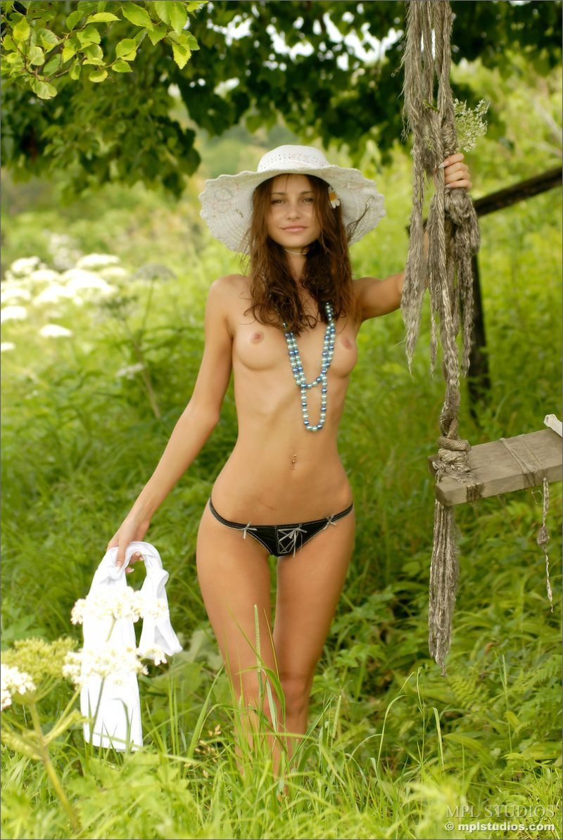 Anya in summer hat Anya irina buromskih meadow Pretty Ladies skinny