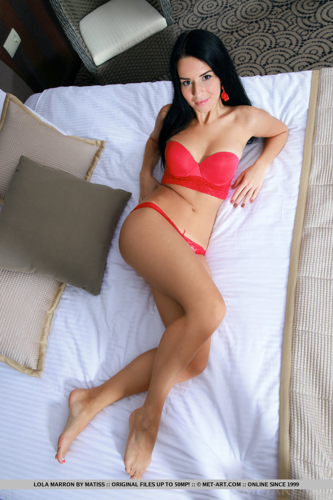 Lola Marron in red lingerie