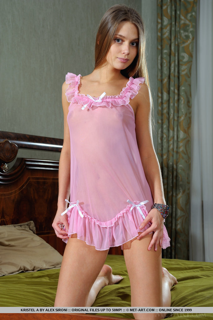 Kristel in pink nighty kristel a long hair nighty small tits Young girls