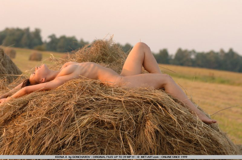 Ksena naked on haystack haystack ksena a ksusha Pretty Ladies sunset