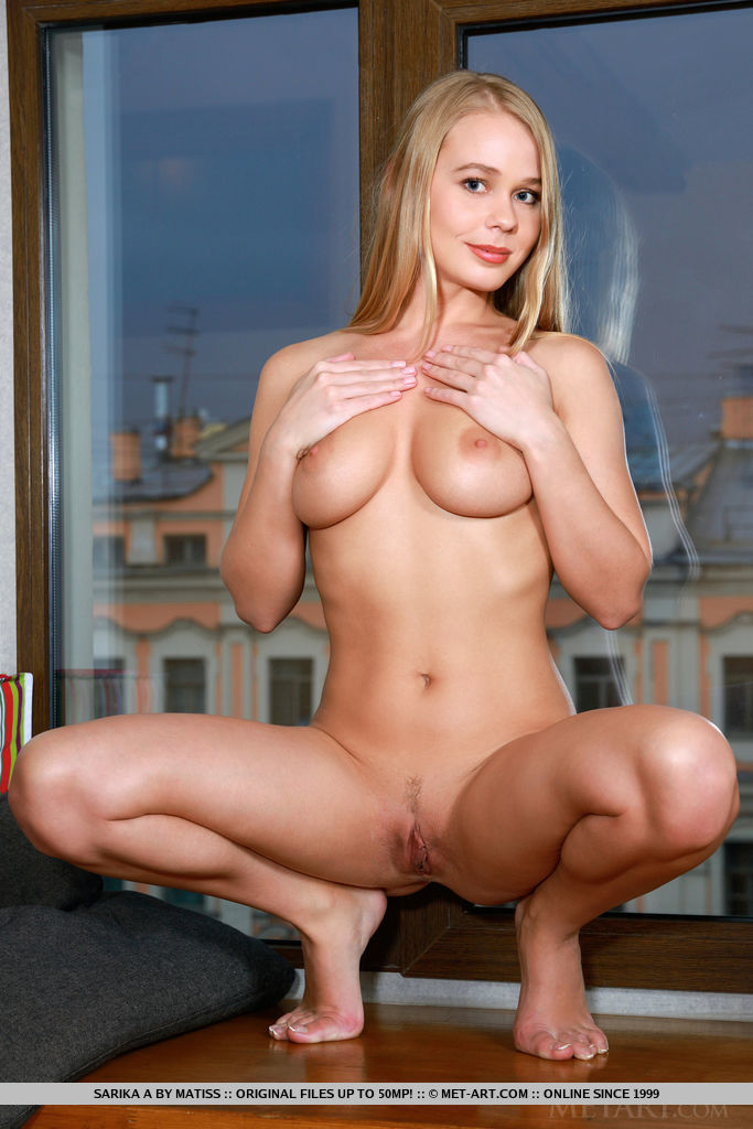 Sarika in white socks blonde bodysuit boobs darina nikitina Pretty Ladies sarika socks window