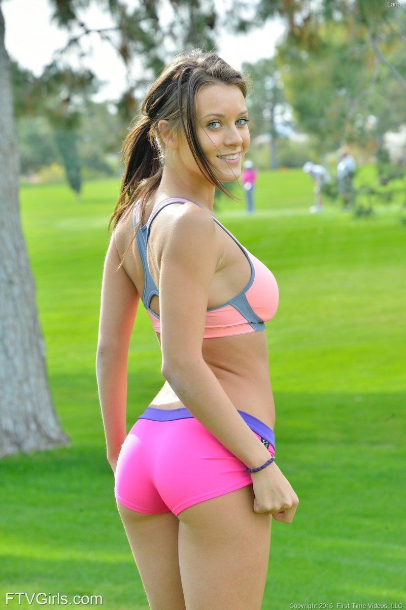 Lana Rhoades on the golf course