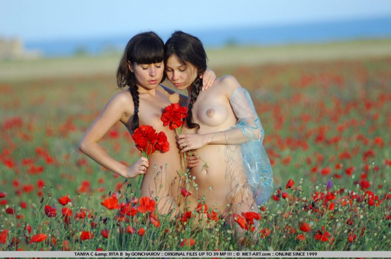Tanya & Rita – Field of poppies Lesbian rita b tanya c young Young girls