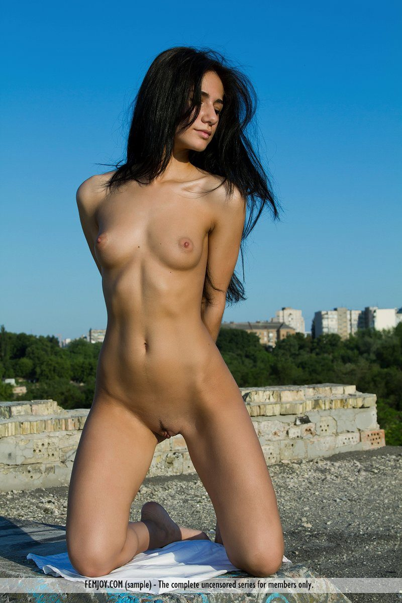 Malina naked on the roof brunette Malina roof skinny small tits Young girls
