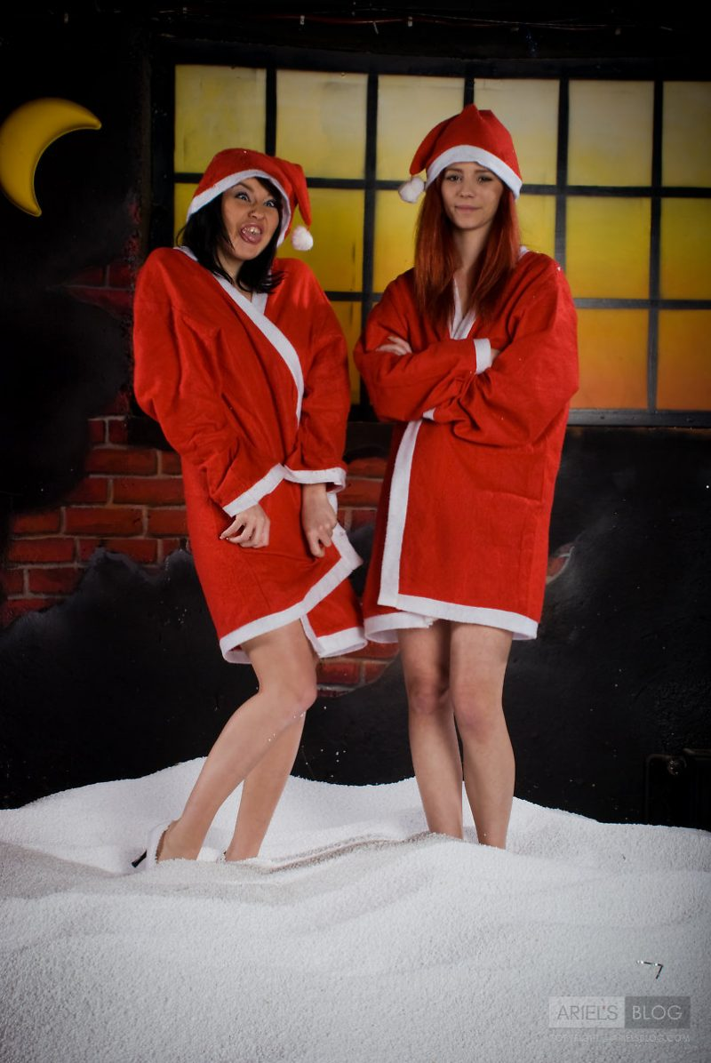 Ariel with a friend in Santa costumes