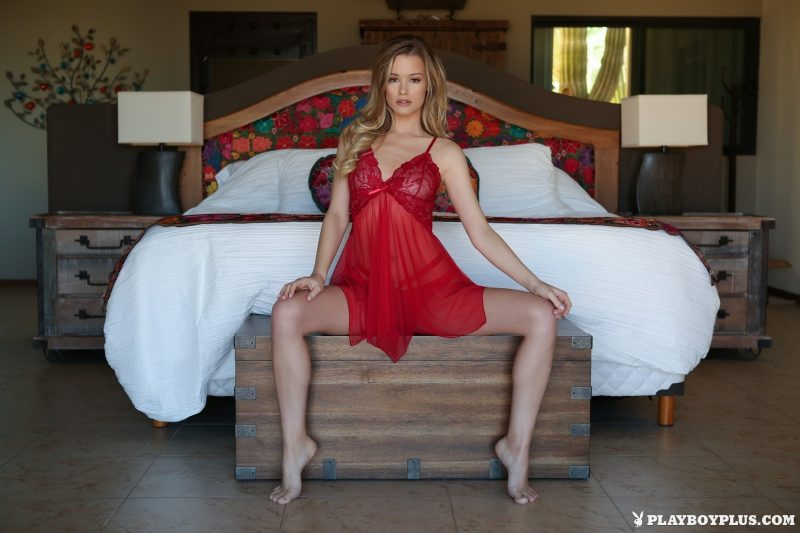 Olivia Preston in red nighty