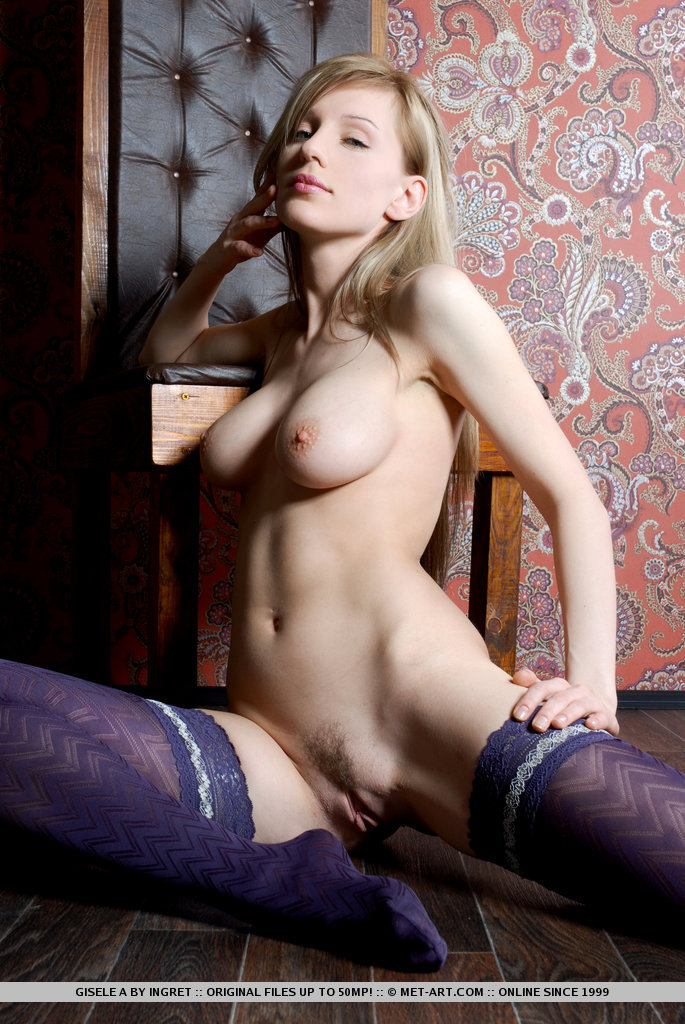 Gisele in purple stockings fetish gisele a long hair olga barz stockings