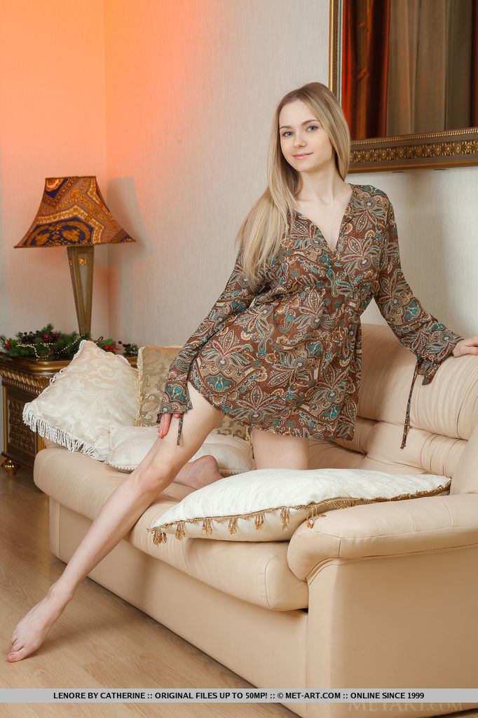 Lenore – Long haired blonde blonde couch lenore Pretty Ladies skinny