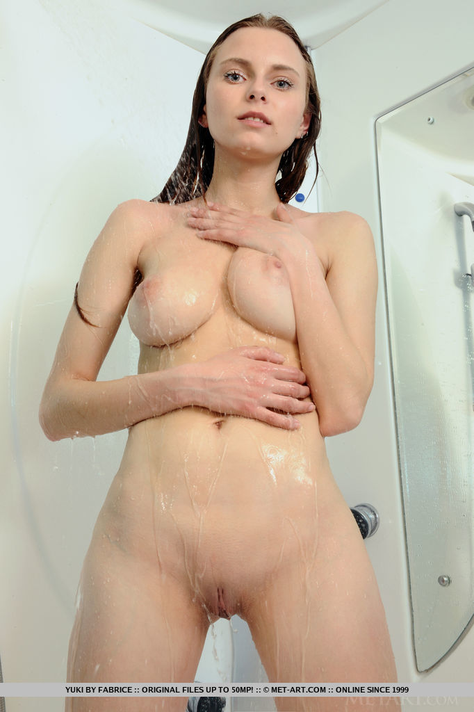 Yuki taking a shower