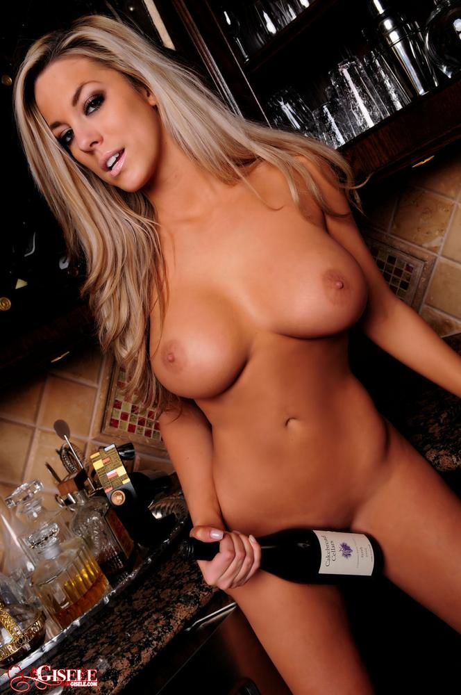 Gisele tasting the wine