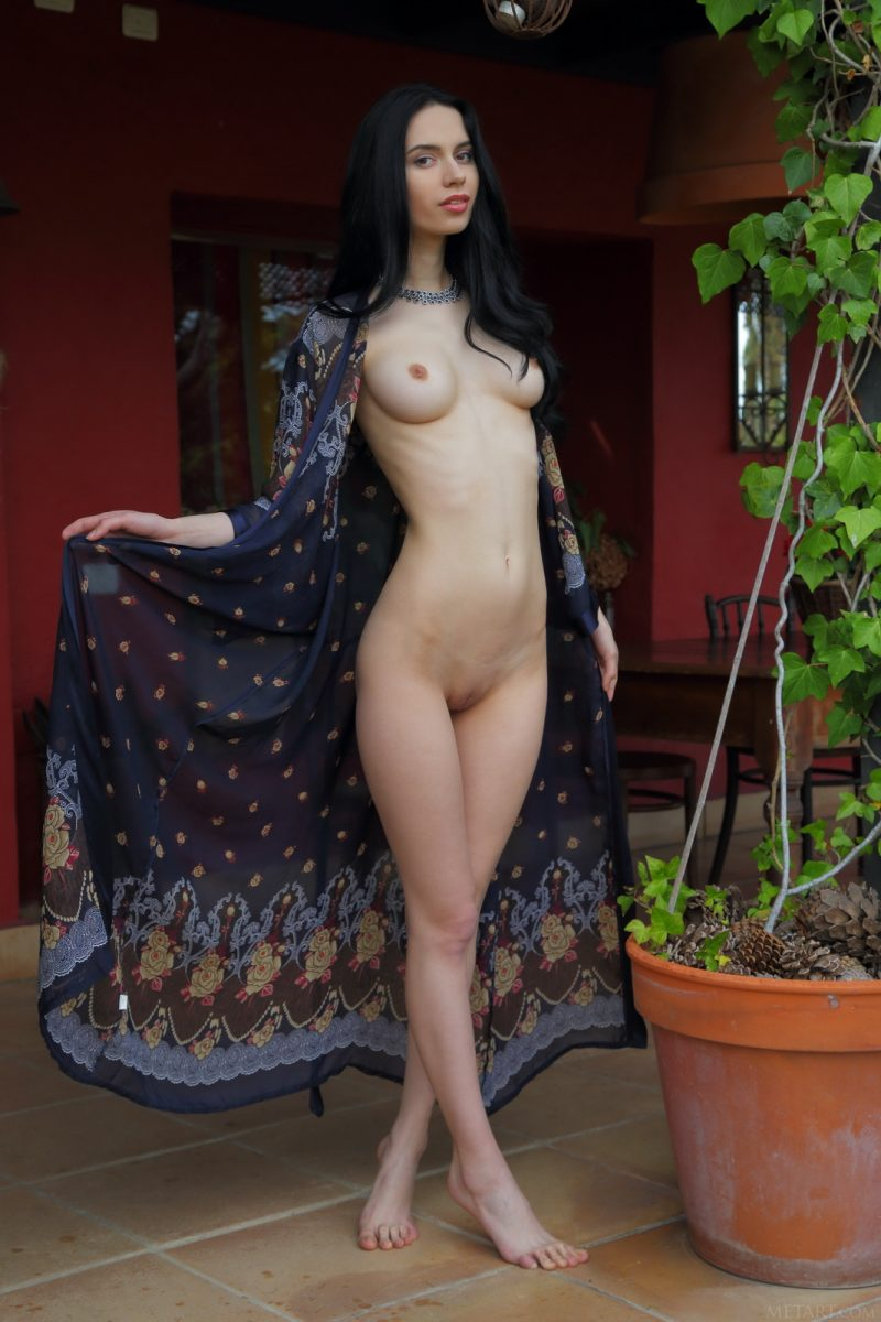Dita in dressing gown