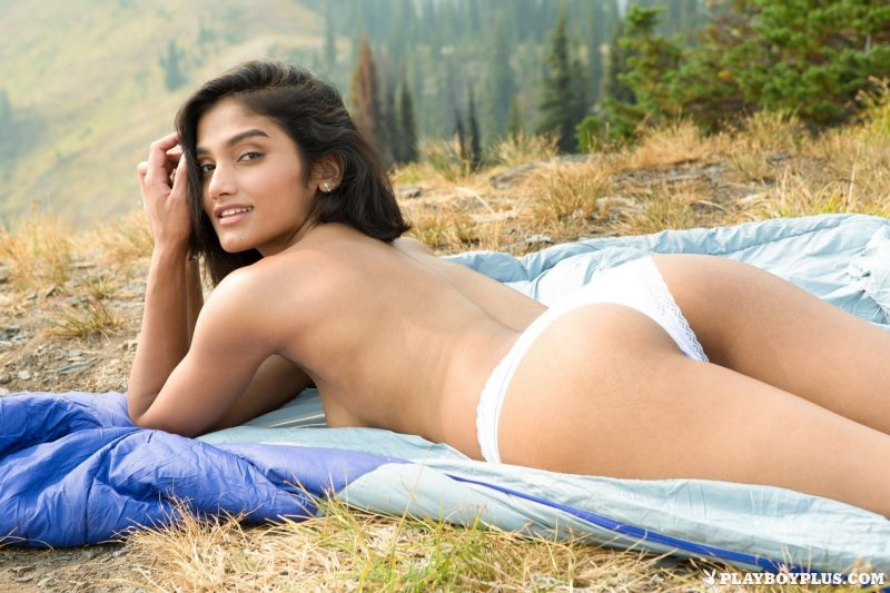 Angel Constance – Camping in tent angel constance campsite jeans shorts playboy Super Chicks tent