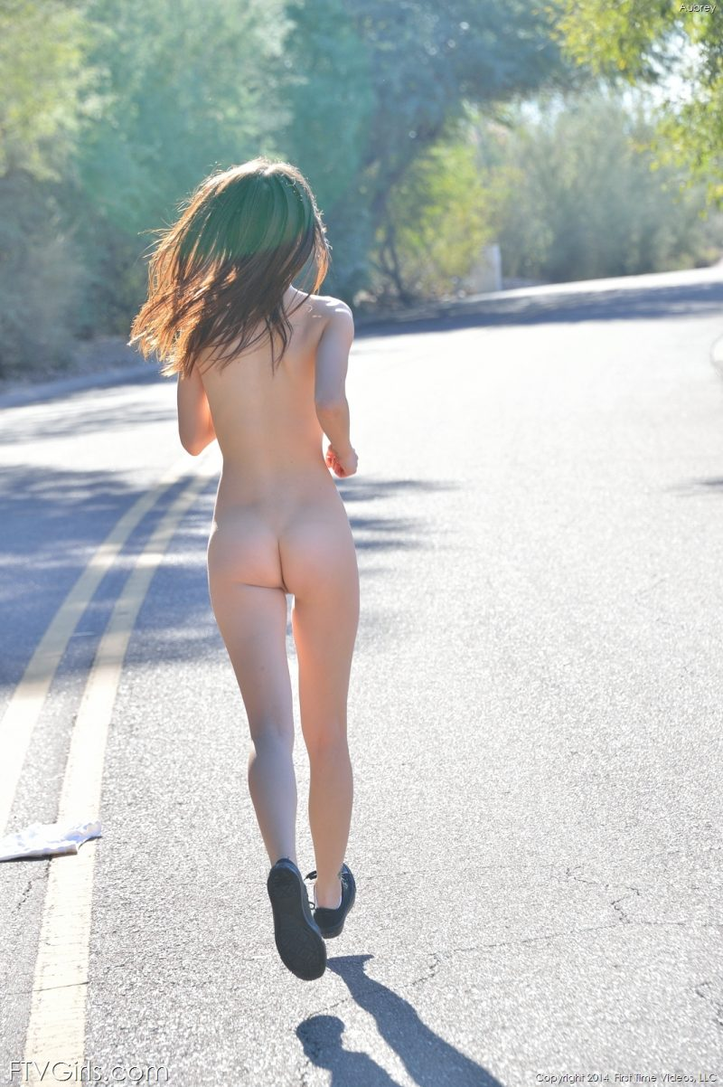 Aubrey naked on the road aubrey nude Nude in Public public road shorts