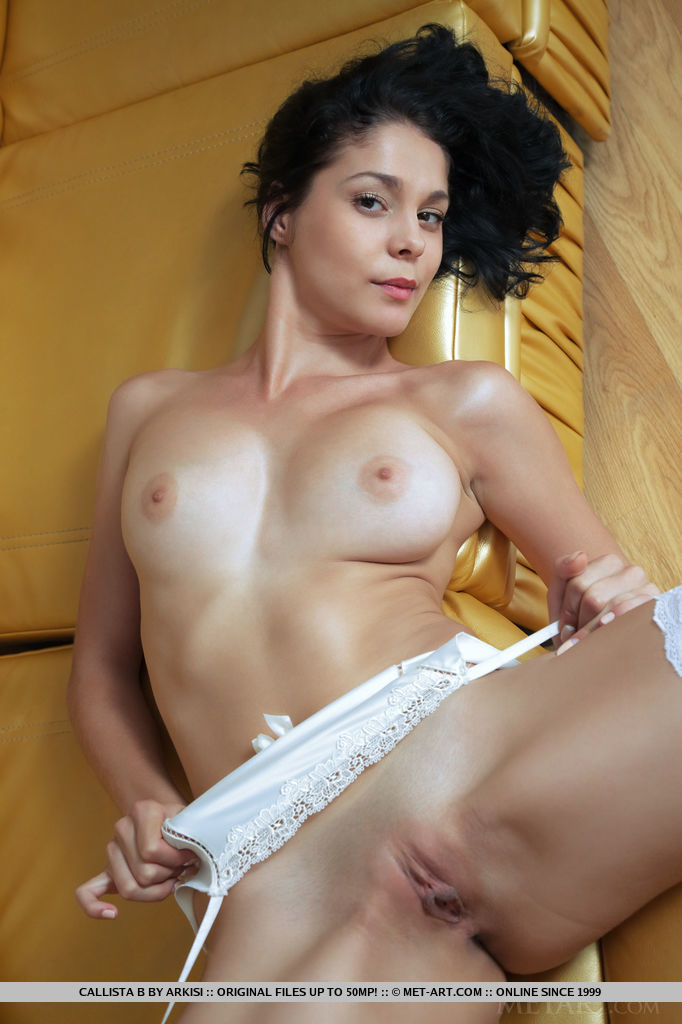 Callista – White stockings & garters brunette callista b couch fetish garters stockings