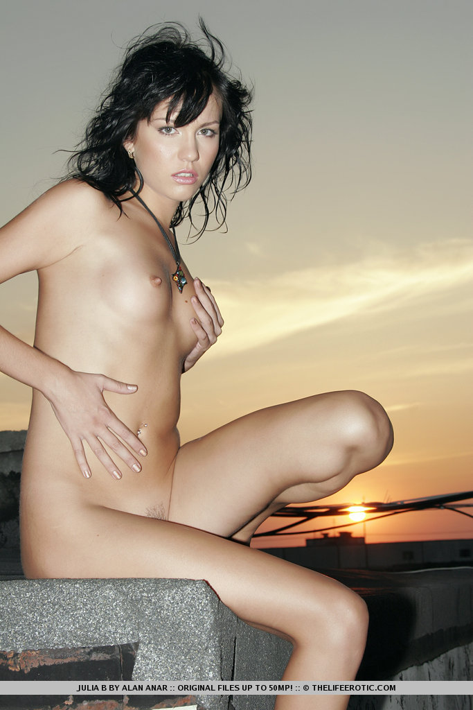 Julia B – Waiting for the sunset brunette julia b Pretty Ladies roof slim sunset