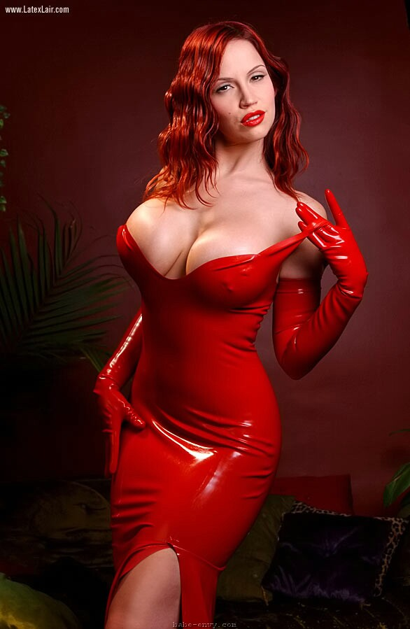 Bianca Beauchamp in red latex Bianca Beauchamp big tits latex redhead