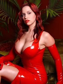 Bianca Beauchamp in red latex