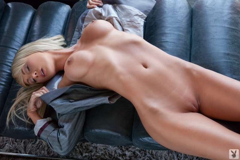 Sara Jean Underwood posing in wondow big tits blonde playboy Sara Jean Underwood