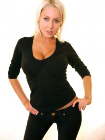 Mandy Dee in black jeans