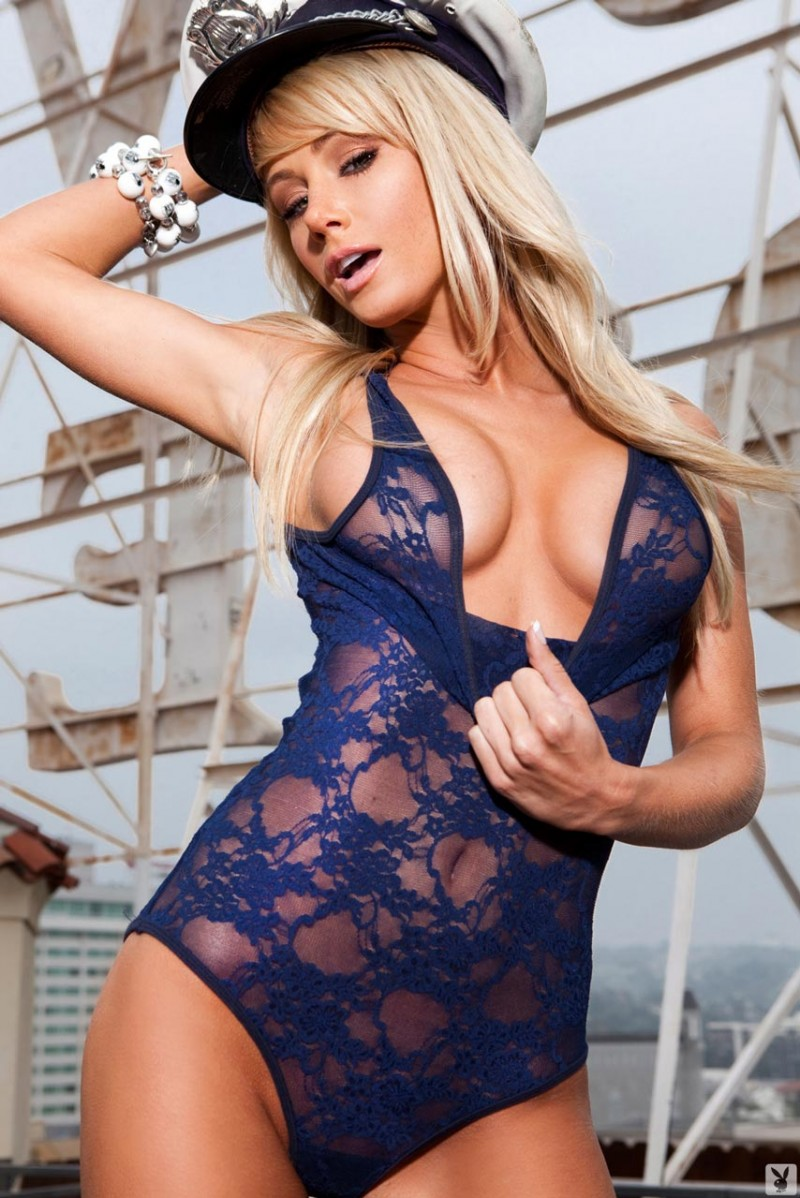 Sara Jean Underwood in sailor hat blonde high heels playboy Sara Jean Underwood