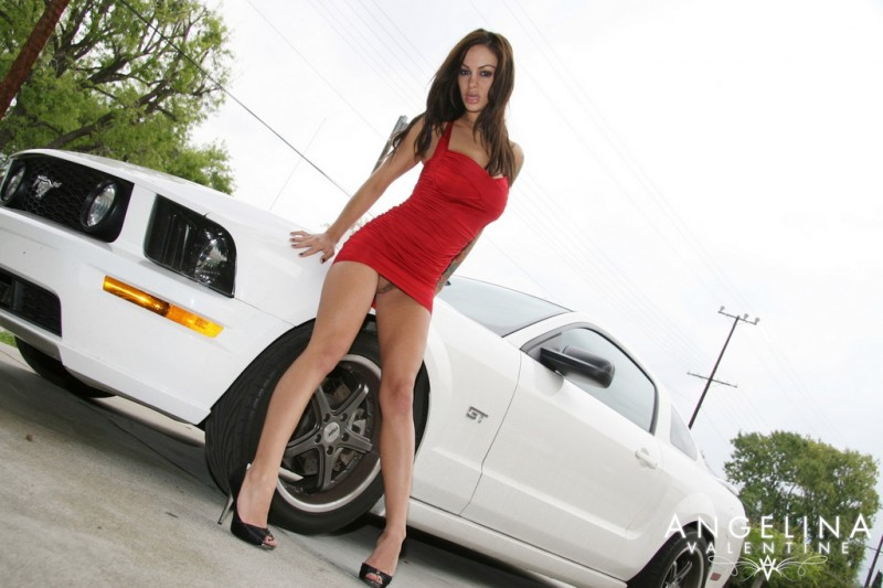 Angelina Valentine in Mustang GT