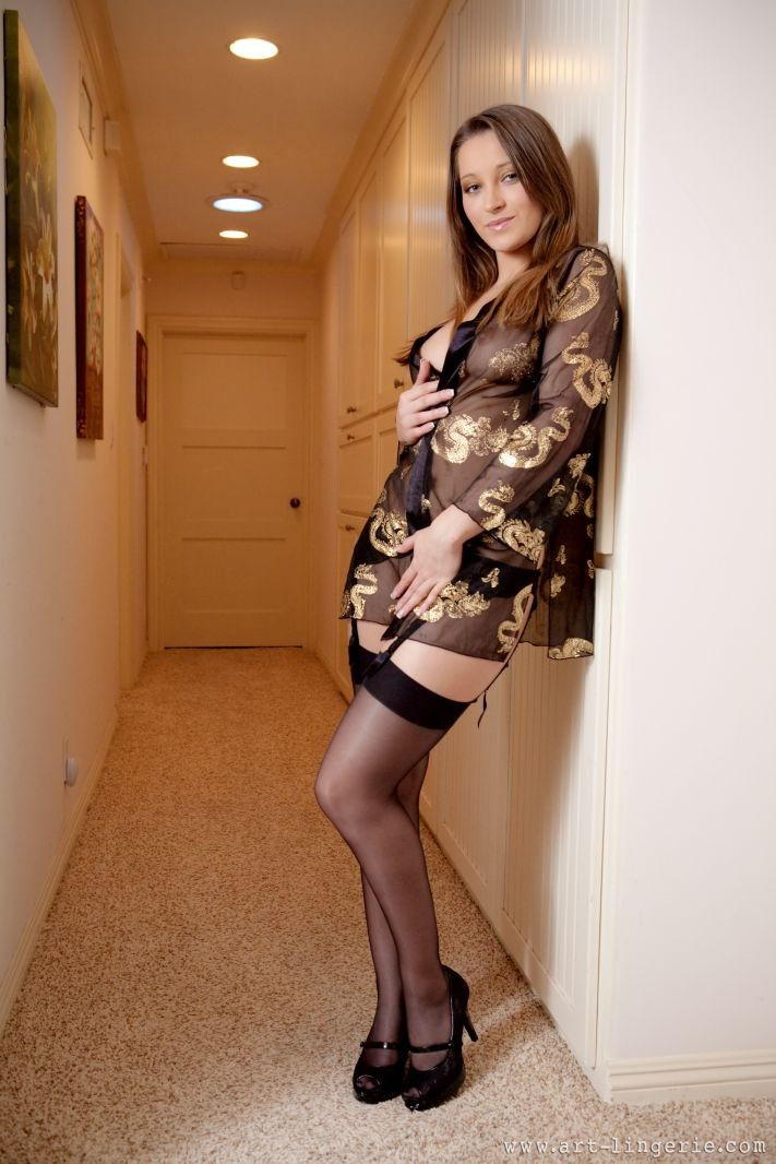 Dani Daniels in black stockings and garters