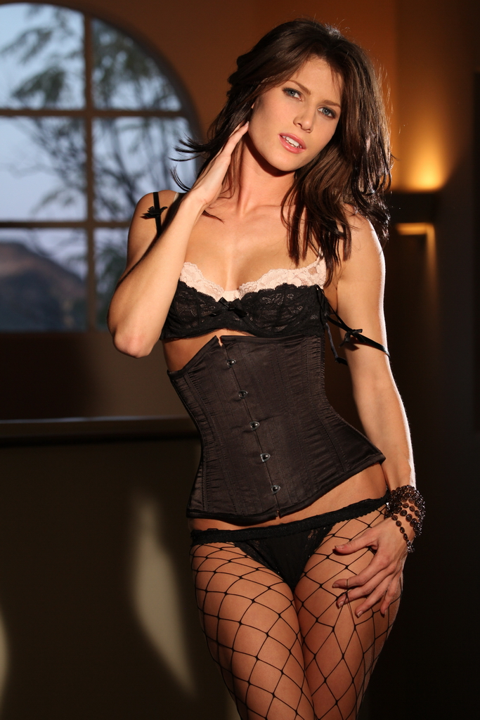 Jenni Lee in black corset