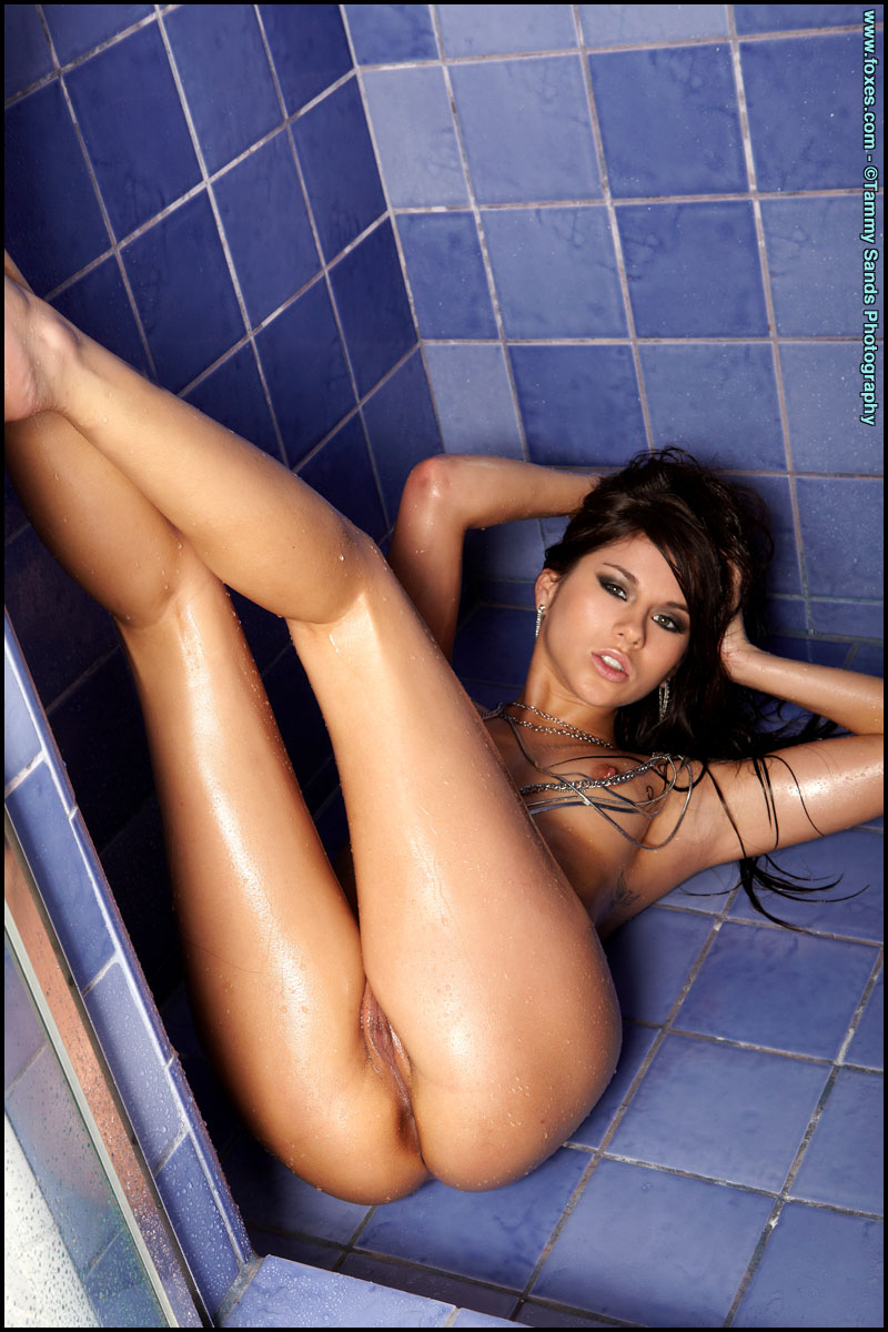 Shyla Jennings getting wet in shower bathroom brunette shower shyla jennings
