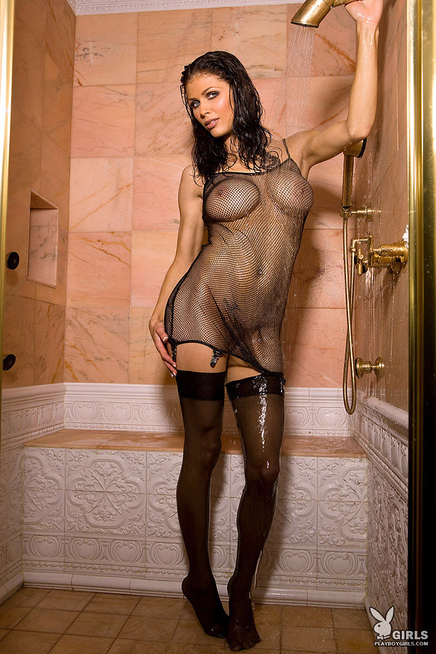 Lynda Redwine shower in fishnet and stockings