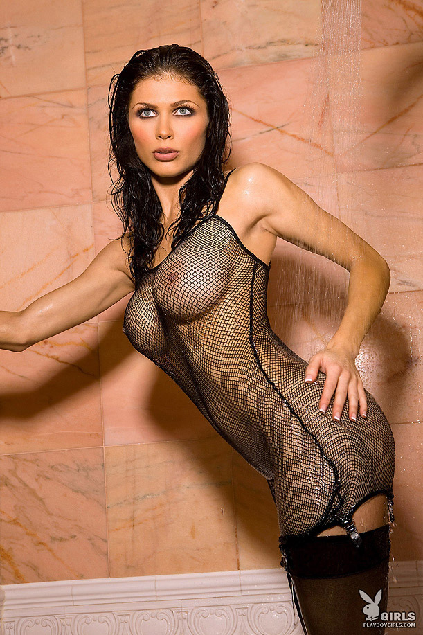 Lynda Redwine shower in fishnet and stockings big tits brunette fishnet lynda redwine shower stockings