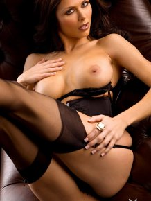 Lynda Redwine in black lingerie