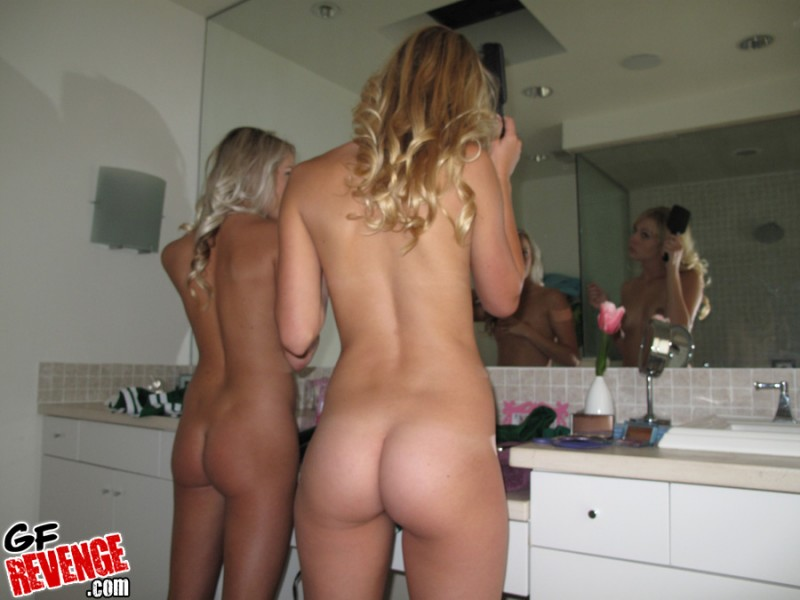 Two Blonde Cheerleaders amateur bathroom big tits blonde chearleaders
