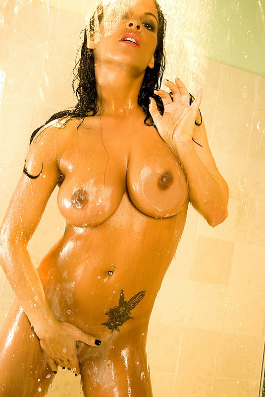 Nancy Erminia takes a shower bathroom big tits brunette Nancy Erminia shower