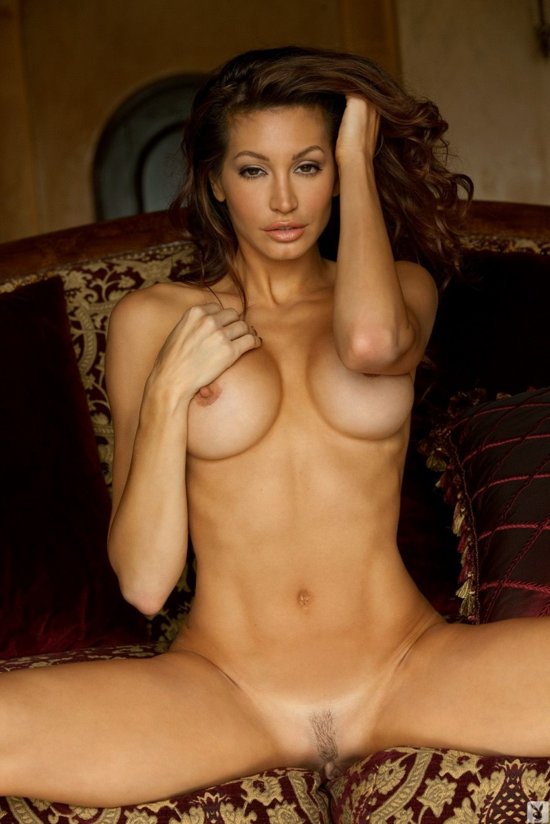 Angela Taylor nude on antique sofa Angela Taylor big tits brunette sofa