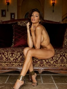 Angela Taylor nude on antique sofa