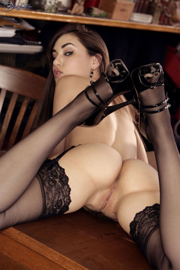 Sasha Grey in garters and stockings brunette garters high heels lingerie Sasha Grey stockings