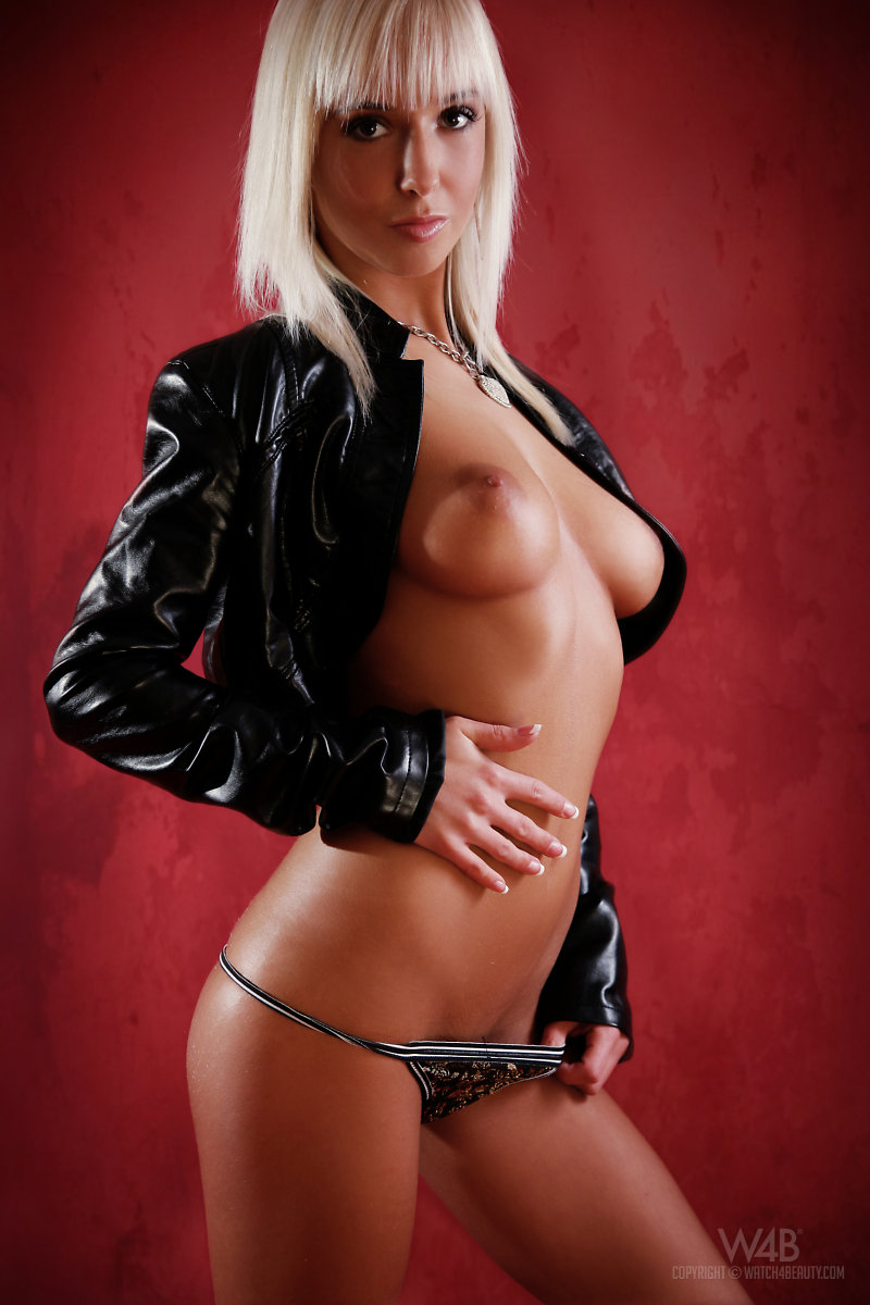Emma in leather jacket big tits blonde Emma jacket leather michaela planková