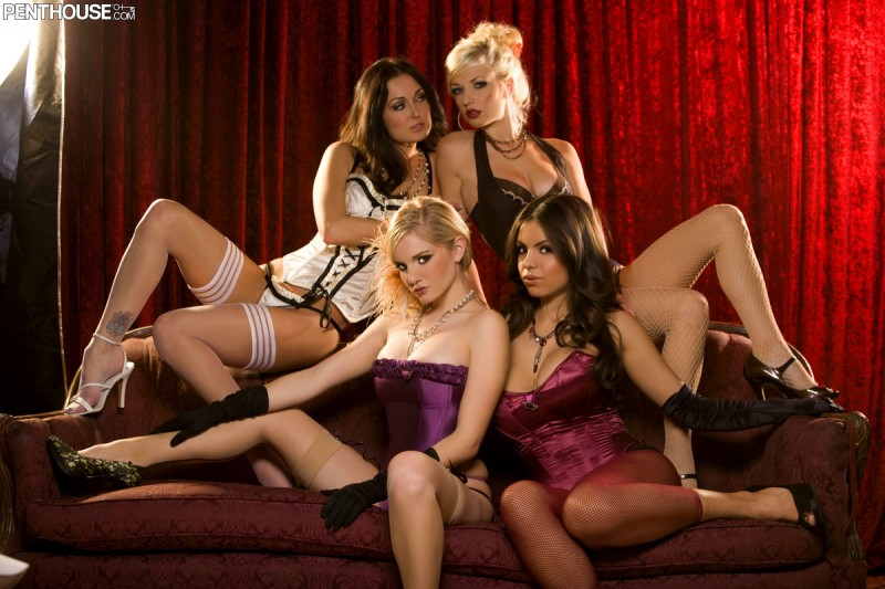 Danielle Trixie, Liz Ashley, Melissa Jacobs and Yurizan Beltran Danielle Trixie high heels Liz Ashley Melissa Jacobs stockings Yurizan Beltran